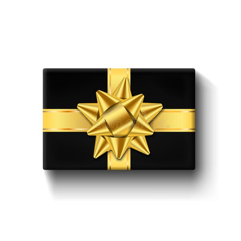 礼物盒3d顶视图,金丝带弓 查出的空白背景 装饰当前黑礼物盒为假日 向量例证