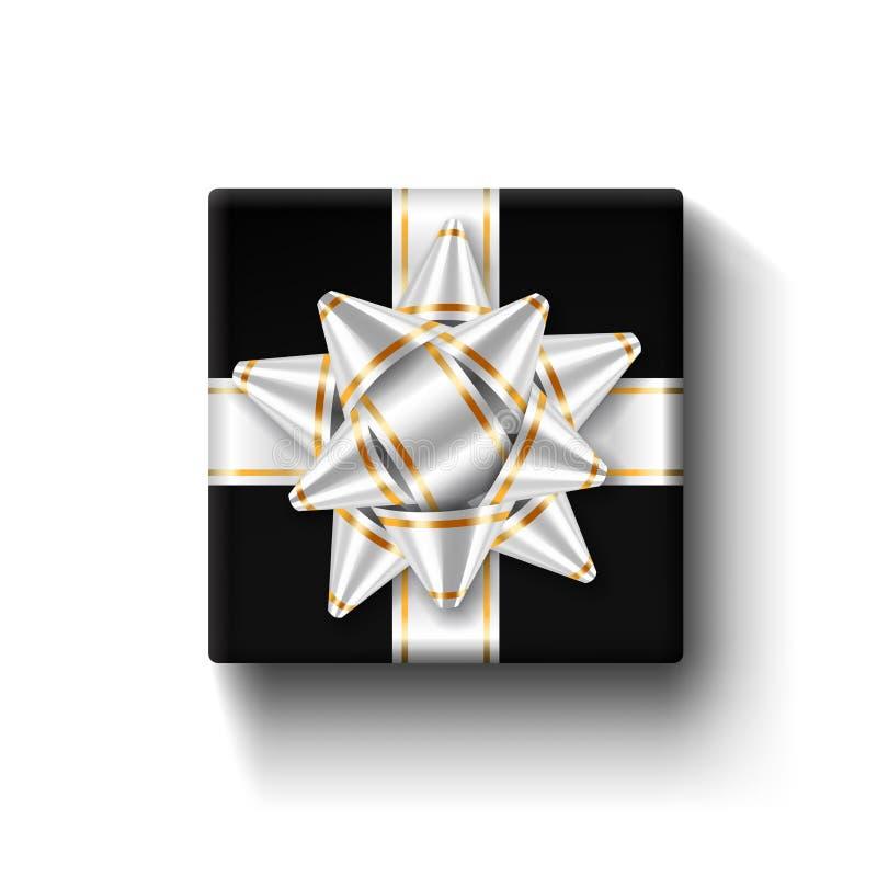 礼物盒3d顶视图,银色丝带弓 查出的空白背景 装饰当前黑角规礼物盒为假日 皇族释放例证