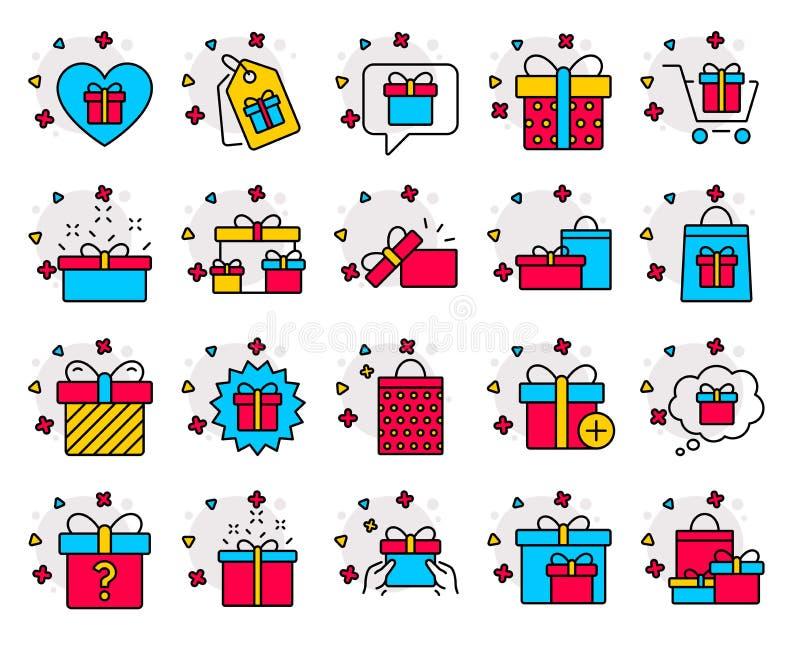 礼物线象 礼物、提议和销售 向量 皇族释放例证