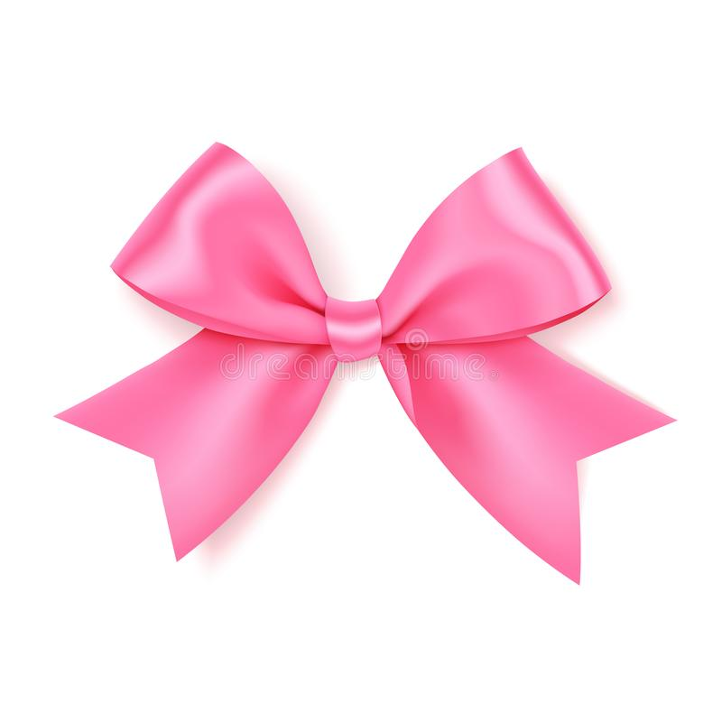 礼物装饰的美好的桃红色弓 假日装饰 传染媒介在白色背景隔绝的玫瑰弓 向量例证