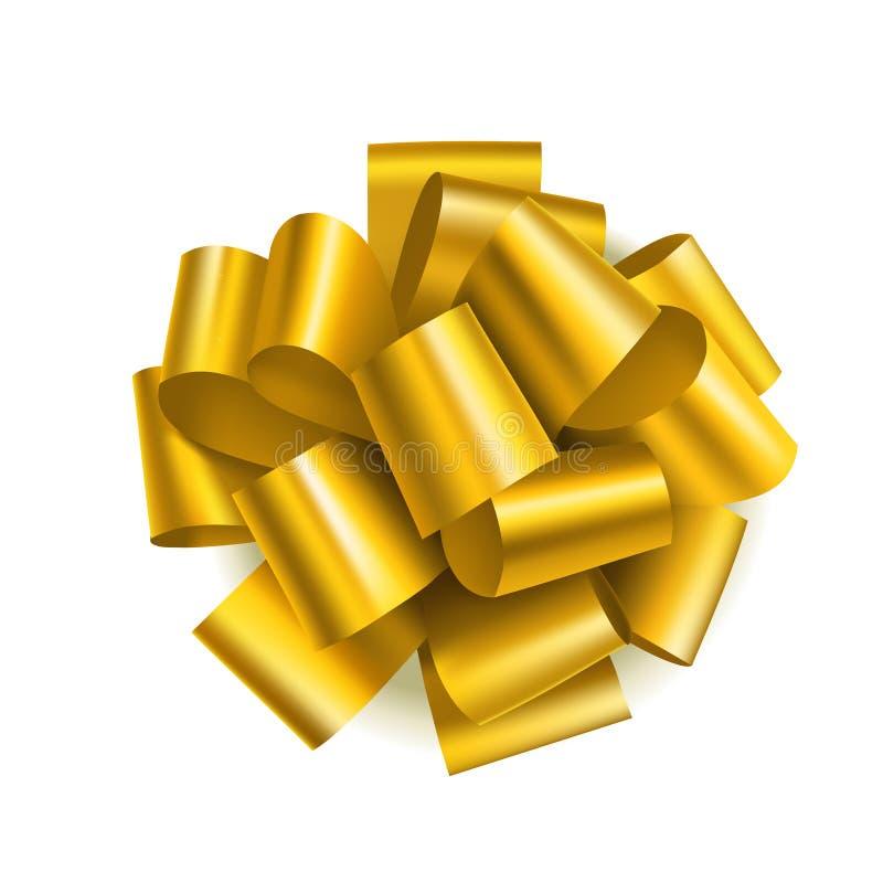 礼物装饰的美好的金黄弓 假日装饰 传染媒介在白色背景隔绝的黄色弓 皇族释放例证