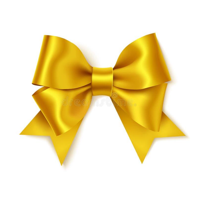 礼物装饰的美好的金黄弓 假日装饰 传染媒介在白色背景隔绝的黄色弓 库存例证