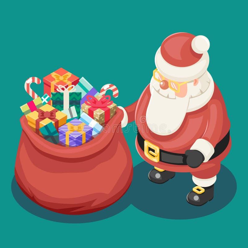 礼物请求逗人喜爱的等量3d圣诞节圣诞老人祖父弗罗斯特箱子新年动画片平的设计象模板 向量例证