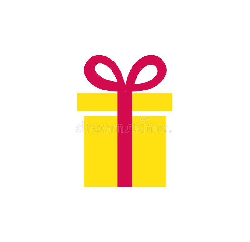 礼物象 有丝带的简单的当前箱子 查出的对象 库存例证