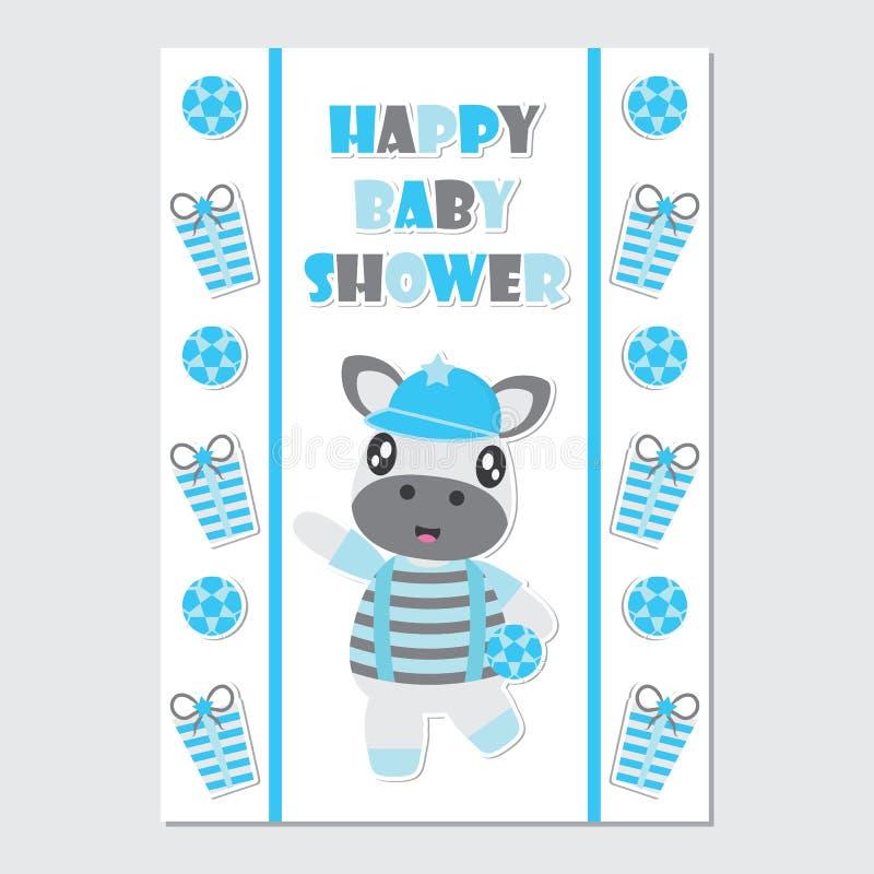 礼物边界动画片例证的逗人喜爱的斑马男孩婴儿送礼会卡片设计的 皇族释放例证