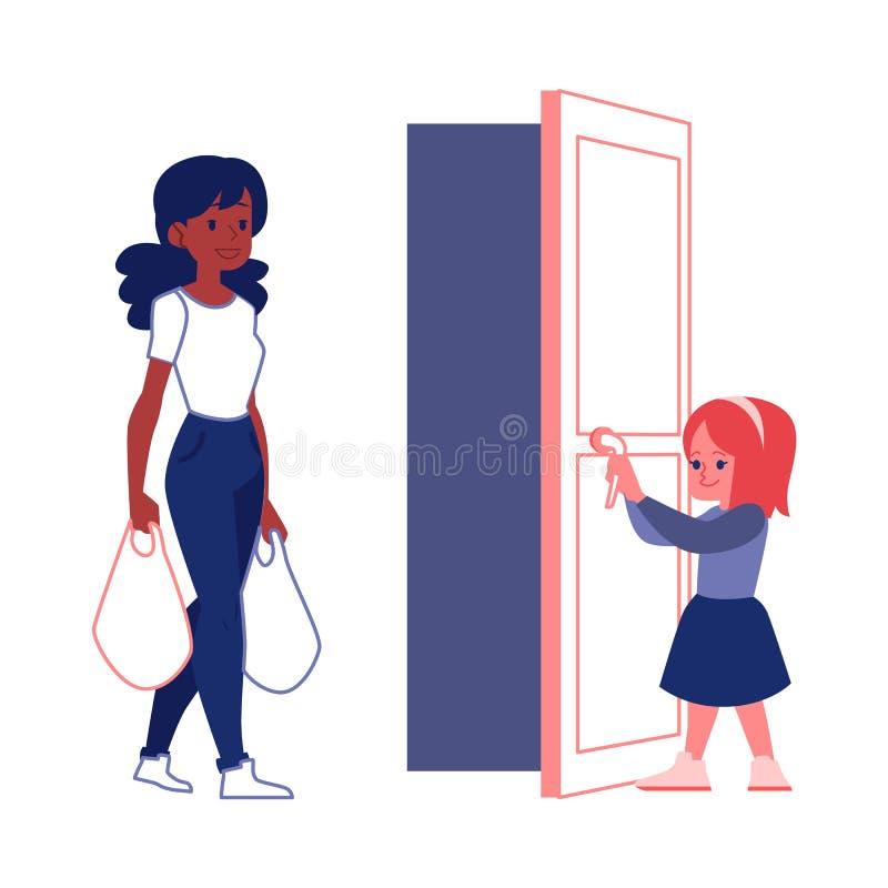礼貌的有礼貌的孩子打开妇女平的传染媒介例证的一个门隔绝了 皇族释放例证