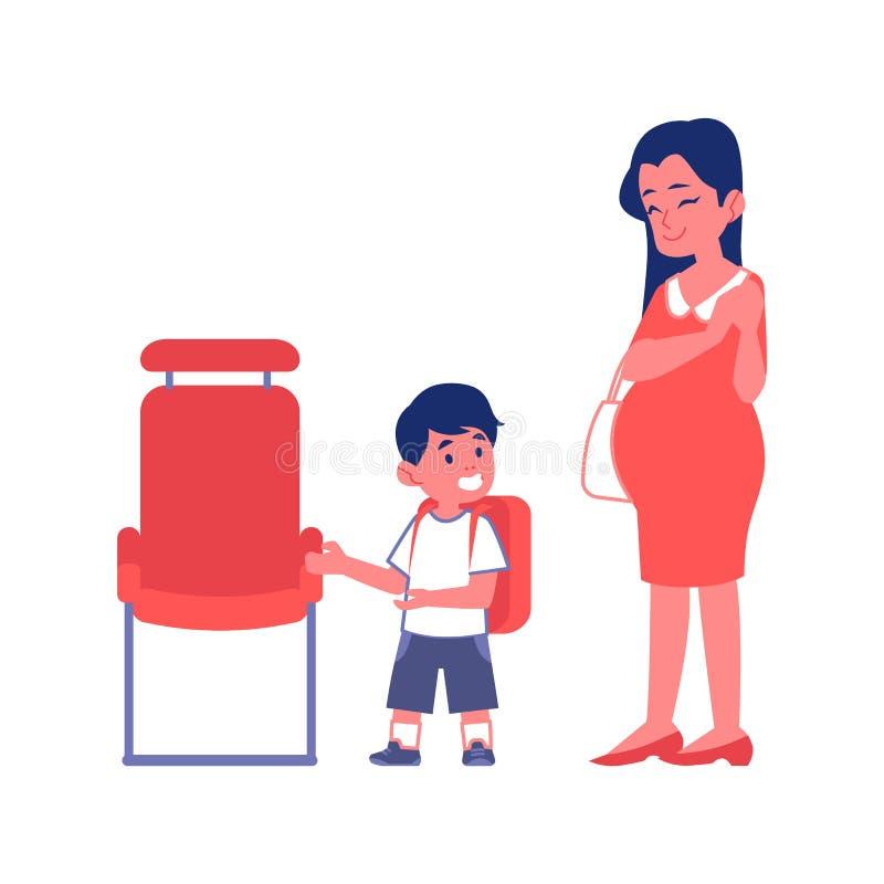 礼貌的男孩和孕妇平的在白色隔绝的传染媒介例证 向量例证