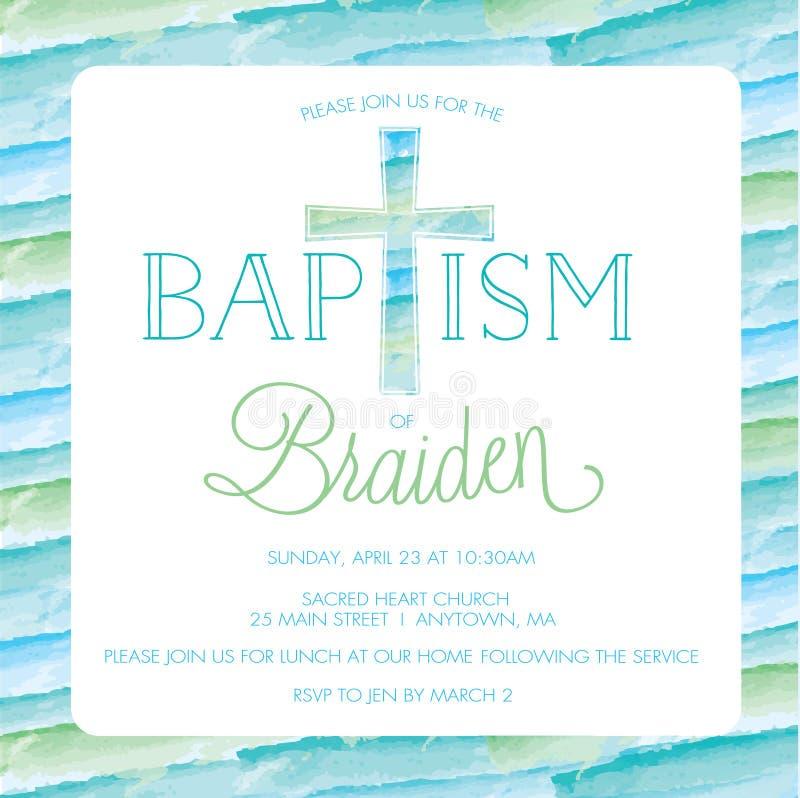 洗礼,洗礼仪式邀请模板-水彩十字架,背景 皇族释放例证