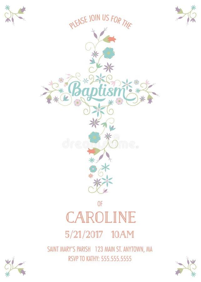 洗礼,洗礼仪式,圣餐-宗教场合卡片模板 皇族释放例证