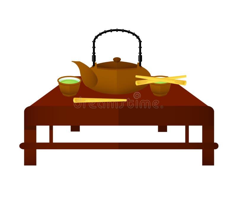 礼仪中国茶元素概念 库存例证