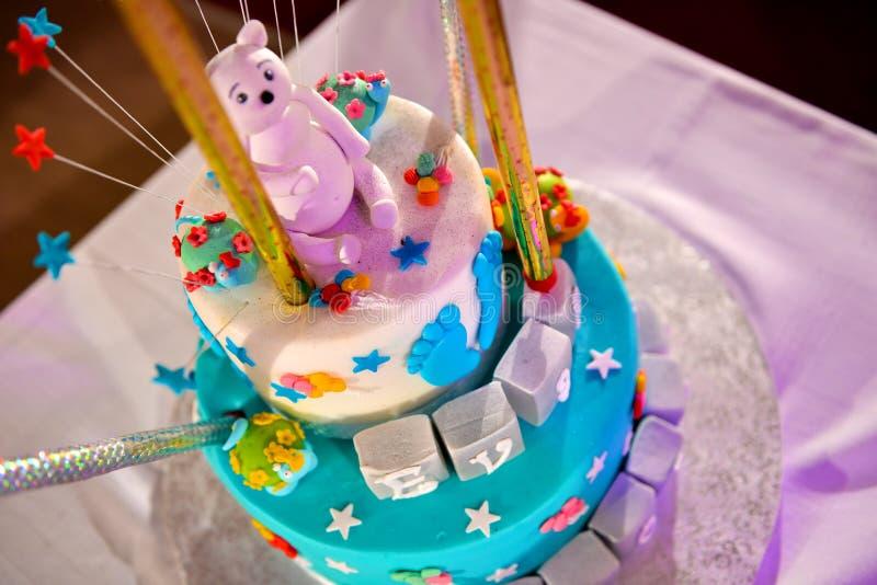 洗礼仪式蛋糕 免版税库存图片