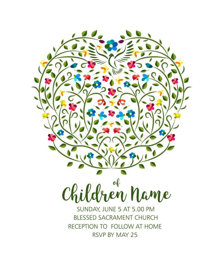 洗礼仪式邀请-与鸽子和花的邀请模板 皇族释放例证