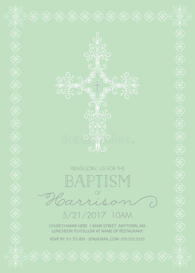 洗礼仪式,洗礼,第一个圣餐,确认邀请模板 皇族释放例证