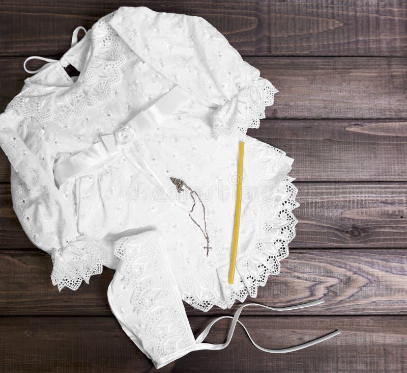 洗礼仪式婴孩白色 免版税库存照片