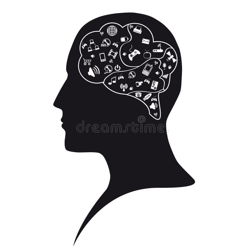 社交在人脑里 免版税库存照片