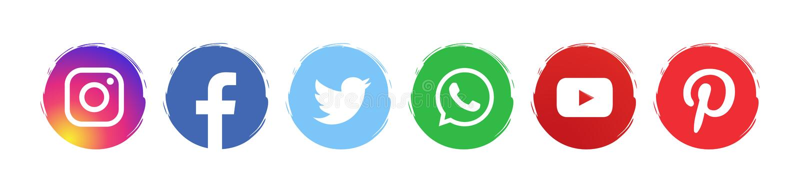 社交媒体图标集 向量例证