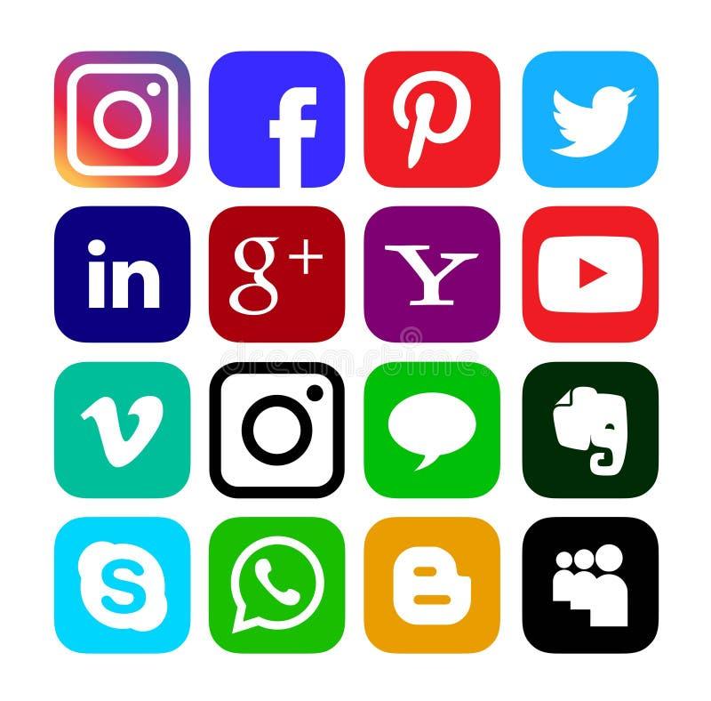 社交媒体图标,矢量中的按钮集合 库存例证