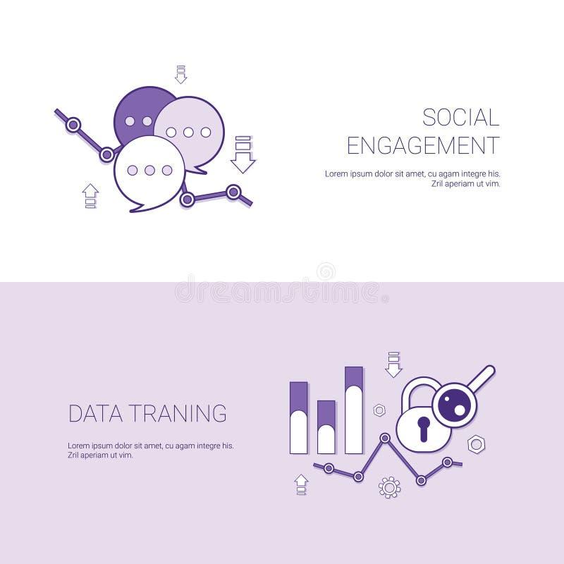 社交活动和数据训练模板与拷贝空间的网横幅 向量例证