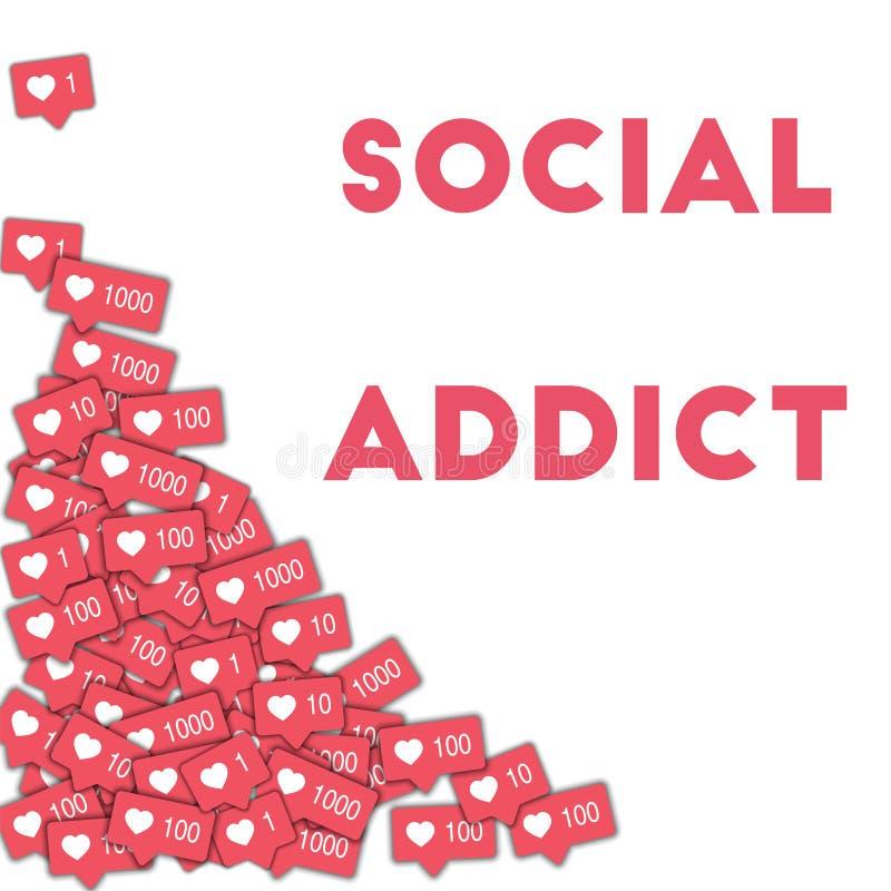 社会上瘾者 社会媒介象在与桃红色柜台的抽象形状背景中 浓缩社会的上瘾者 库存例证