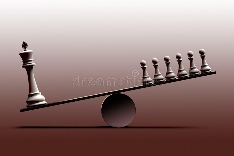 社会不平等的概念性表示法和在用棋子代表的社会阶层之间的不平衡状态 向量例证