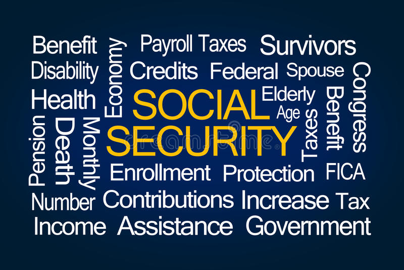 社会保险词云彩 向量例证