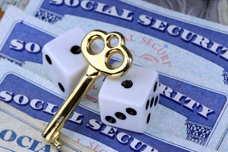 社会保险津贴的钥匙 库存照片