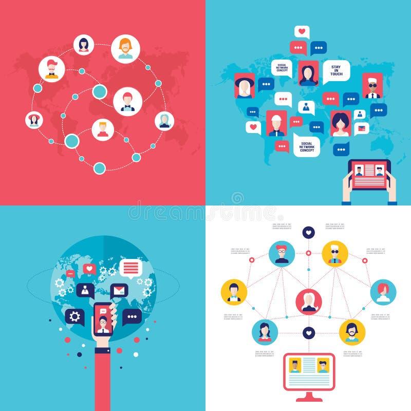 社会关于网概念的网络技术横幅集合用户通信 向量例证