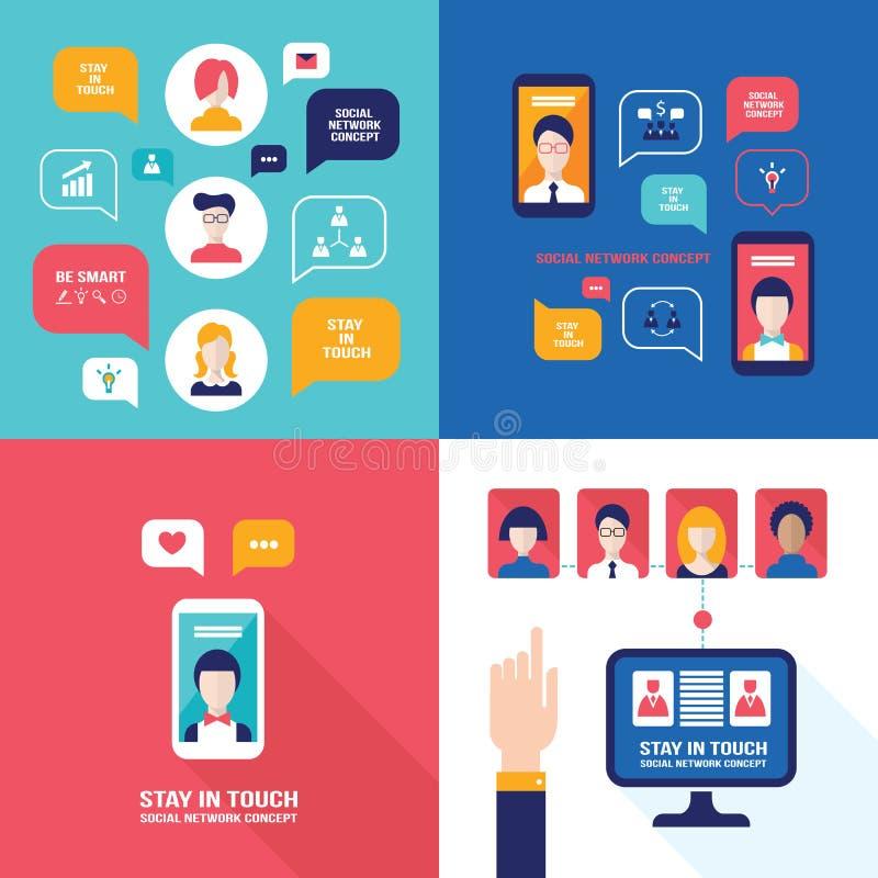 社会关于网概念的网络技术横幅集合用户通信 库存例证