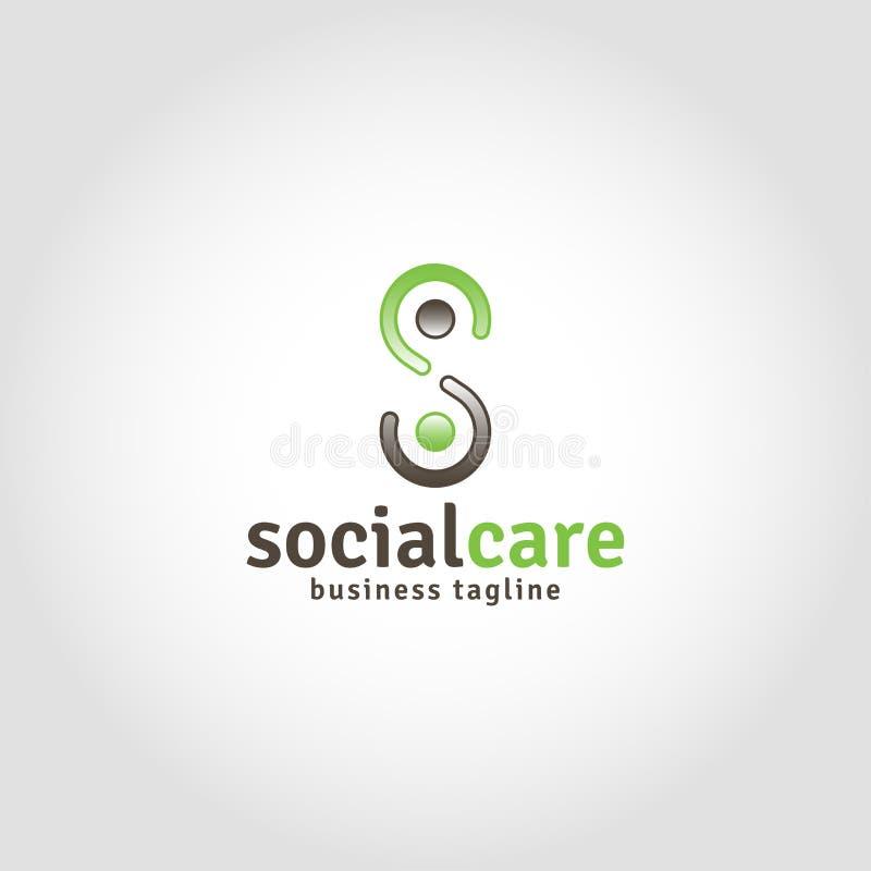 社会关心是与字母S概念的人类商标 向量例证