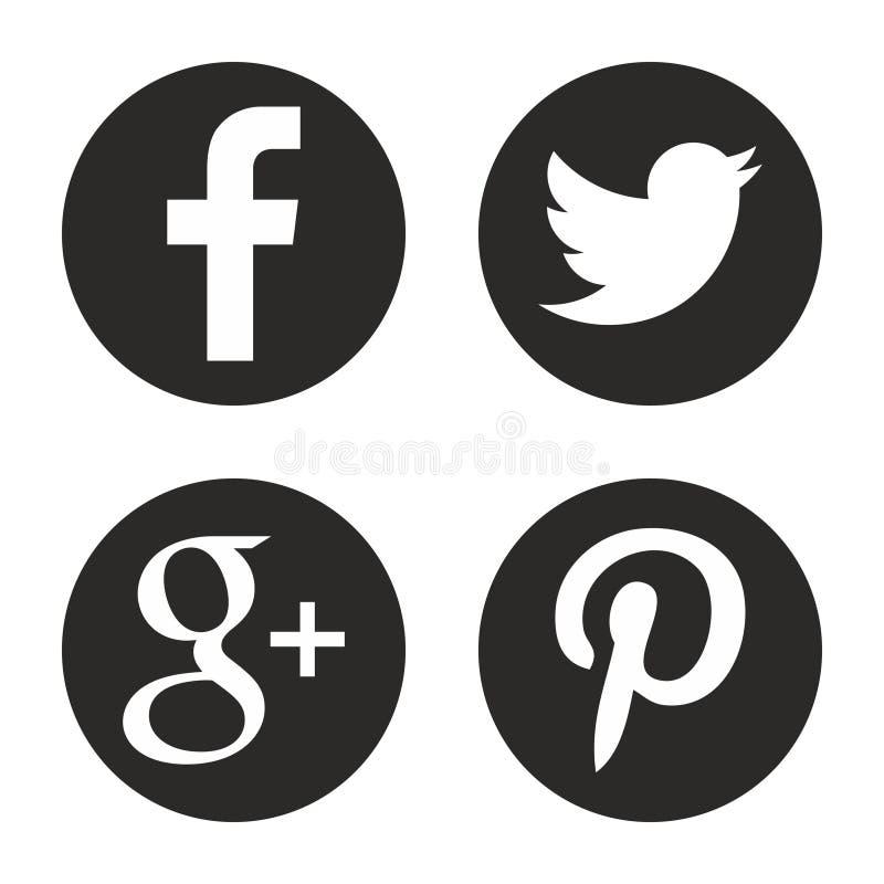 社会图标媒体被设置 在传染媒介的圆的网商标 皇族释放例证