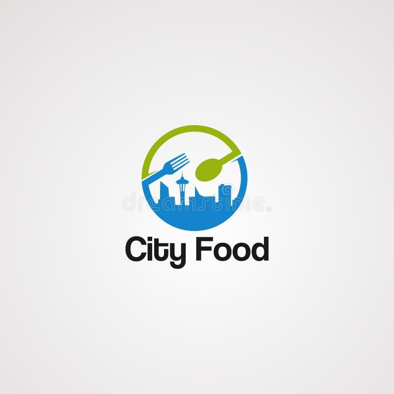 社会城市食物商标传染媒介、象、元素和模板事务的 库存例证