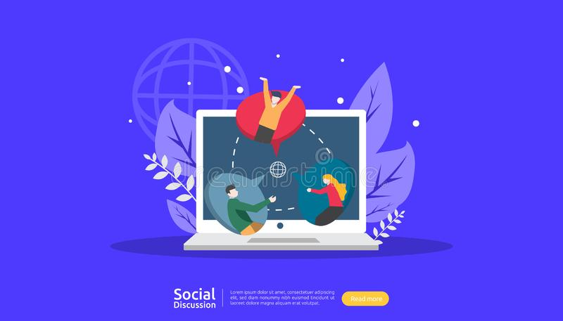 社会媒介交谈网络 闲谈对话泡影通信人字符 在网上聊天的社区 新闻谈论 向量例证