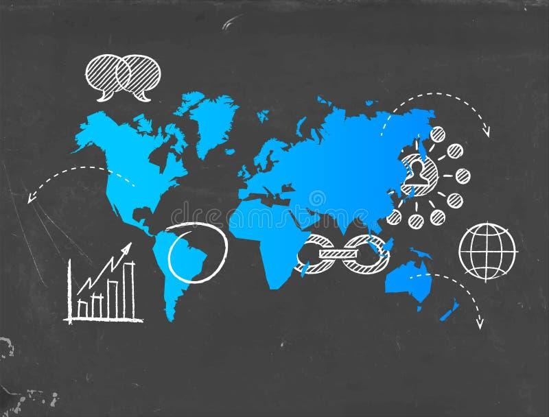 社会媒介企业世界地图模板概念 库存例证
