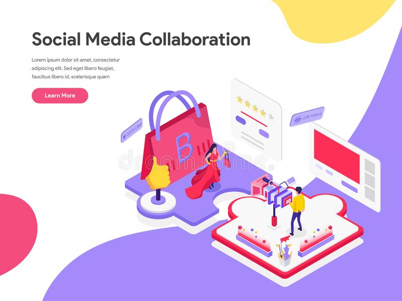 社会媒介合作等量例证概念登陆的页模板  网页的等量平的设计观念 向量例证