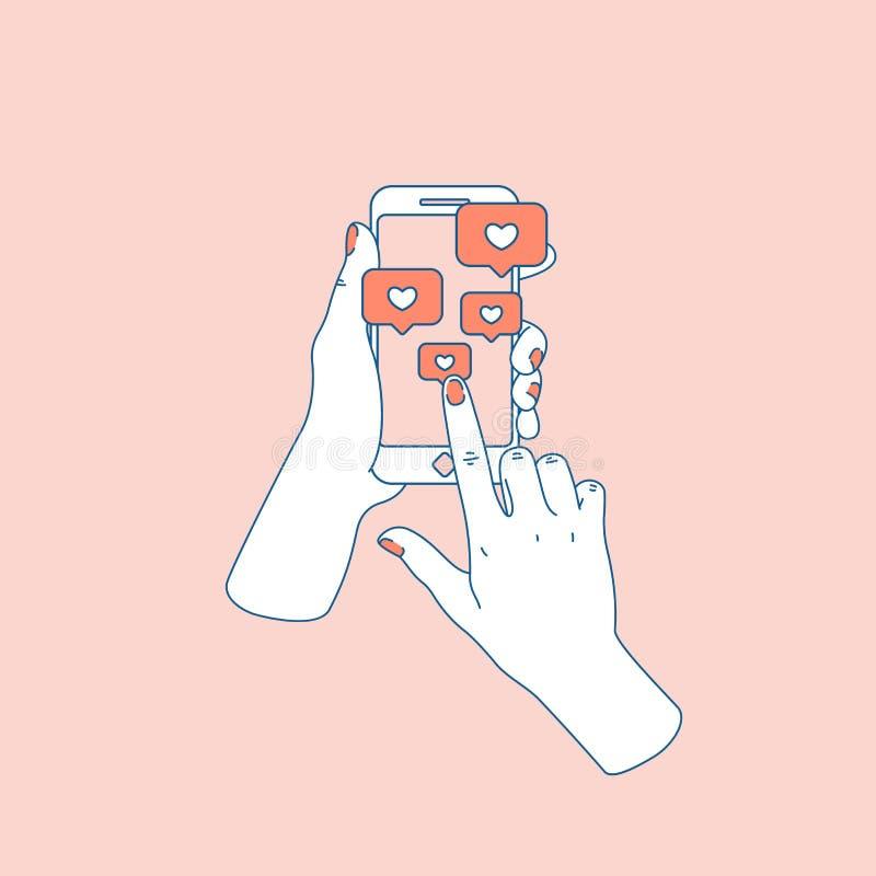 社会媒介喜欢 有智能手机的妇女手 跟随的通知 也corel凹道例证向量 皇族释放例证