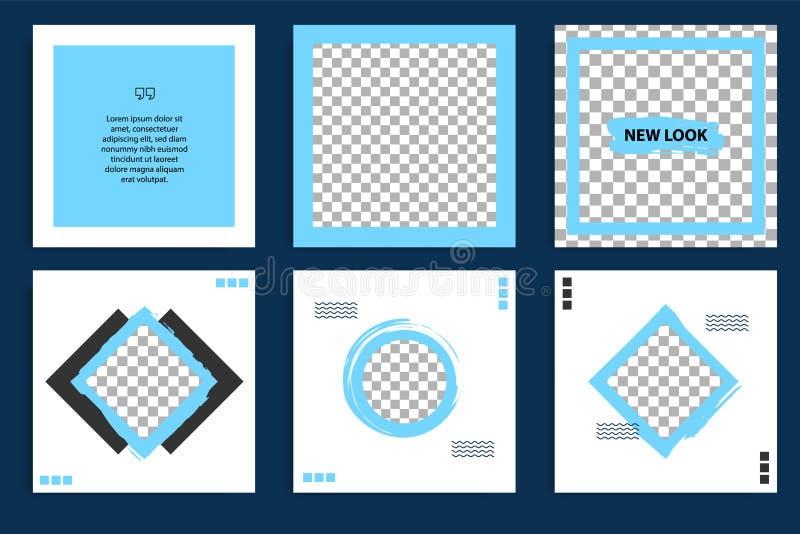 社会媒介岗位故事和故事盖子的蓝色几何形状正方形横幅模板 向量例证