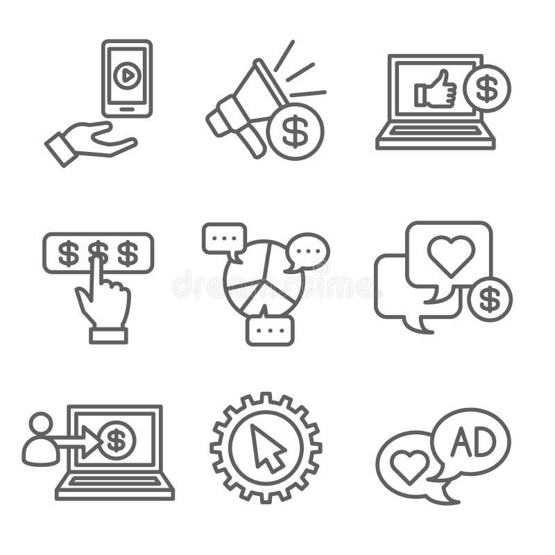 社会媒介广告象设置与录影广告、用户订婚等等 库存例证