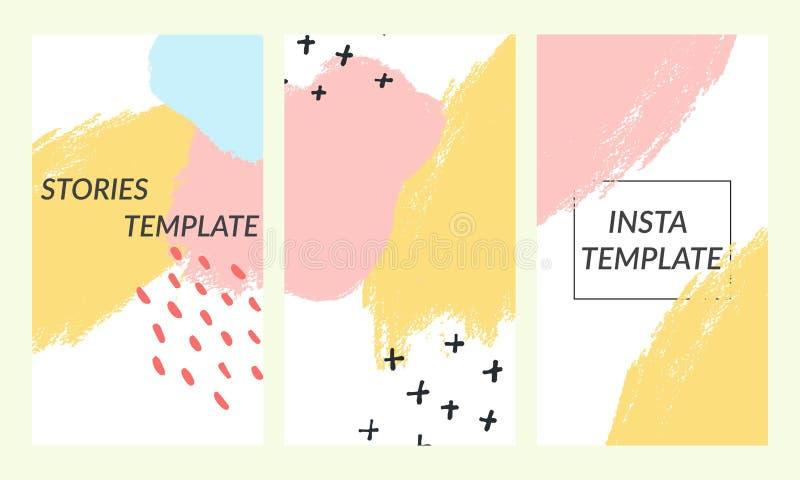 社会媒介故事的时髦编辑可能的模板 孟菲斯样式 社会媒介的设计背景 拉长的现有量 向量例证