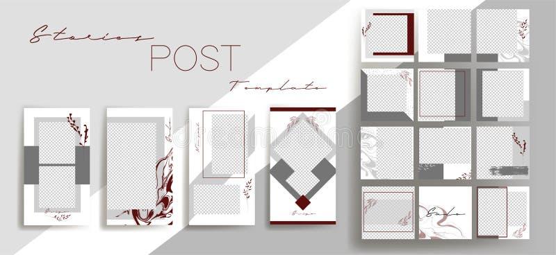 社会媒介横幅的设计背景 设置instagram故事和岗位框架模板 传染媒介盖子 皇族释放例证