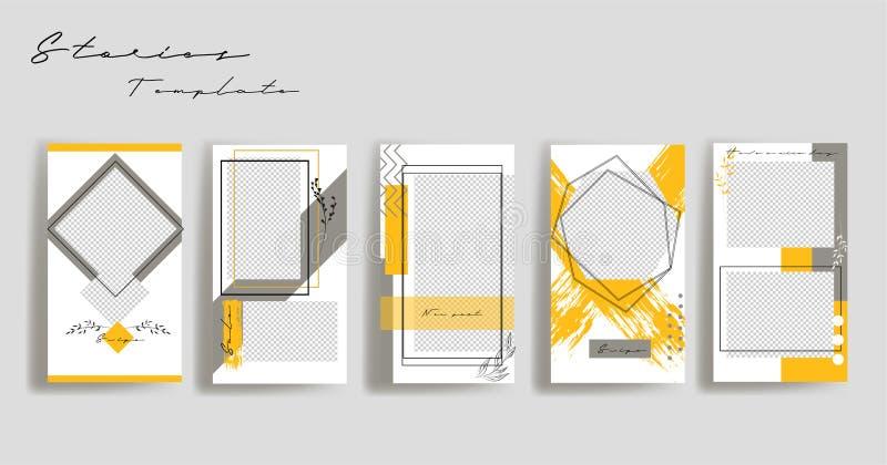 社会媒介横幅的设计背景 设置instagram故事框架模板 传染媒介盖子 皇族释放例证