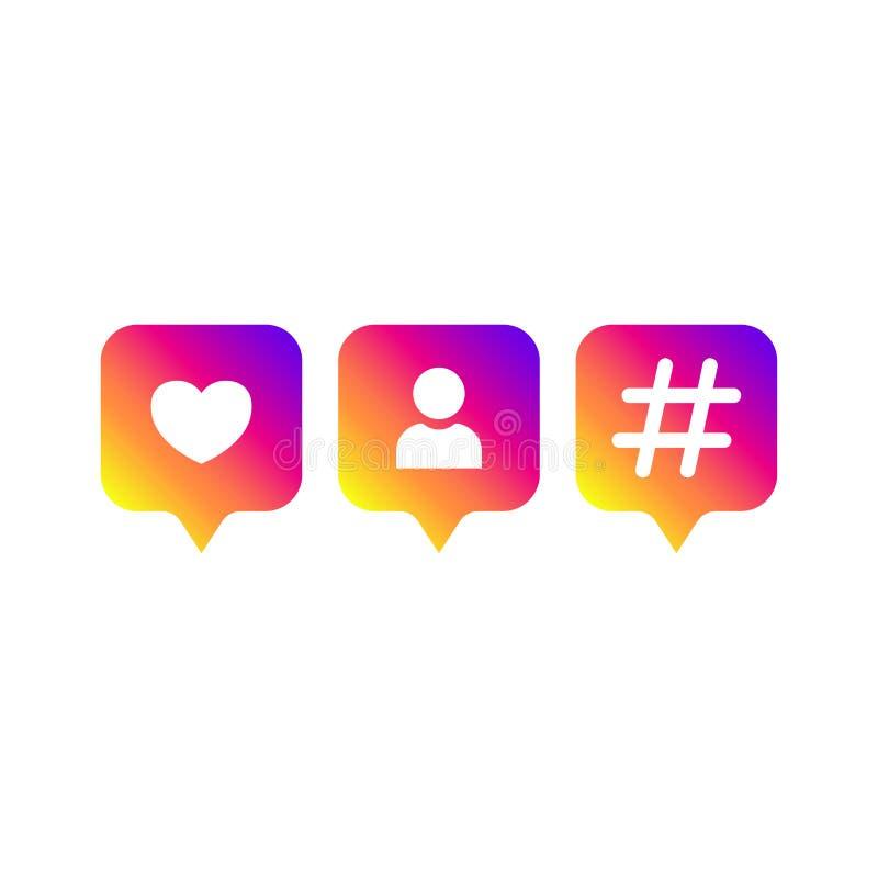 社会媒介现代象,追随者,hashtag梯度颜色 喜欢,追随者,评论按钮,象,标志,ui,应用程序,网 皇族释放例证
