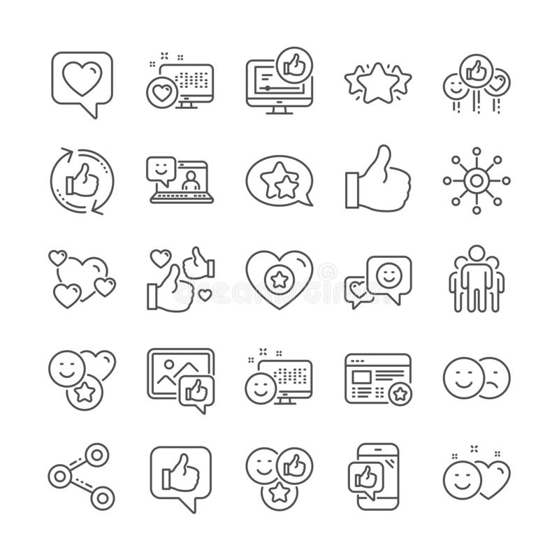 社会媒介线象 设置份额网络、社会链接和对估计的象 向量 库存例证