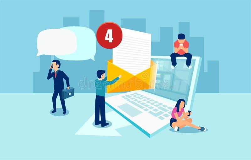 社会媒介网络,数字通信的传染媒介概念通过电子邮件 皇族释放例证