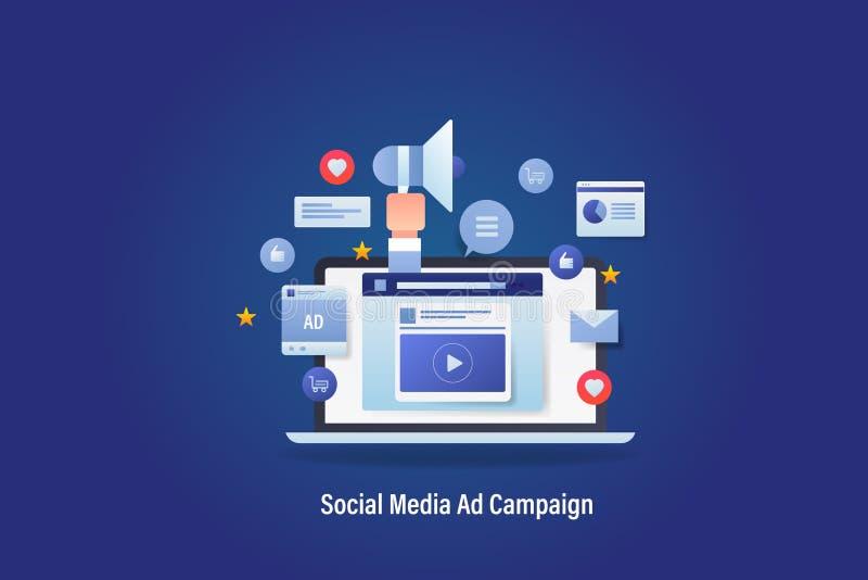 社会媒介营销,数字广告,在显示器,手有象的藏品扩音机的社会媒介广告陈列, 向量例证