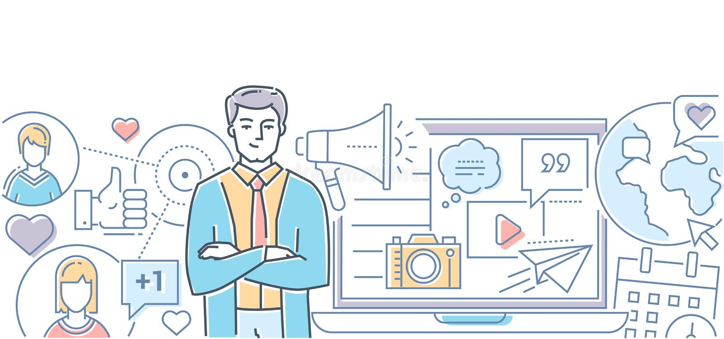 社会媒介营销-现代线设计样式例证 库存例证