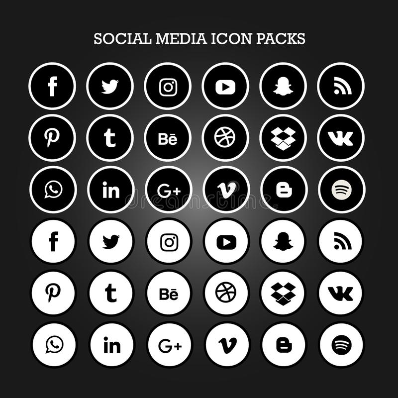 社会媒介象包装平展黑白的圈子 向量例证
