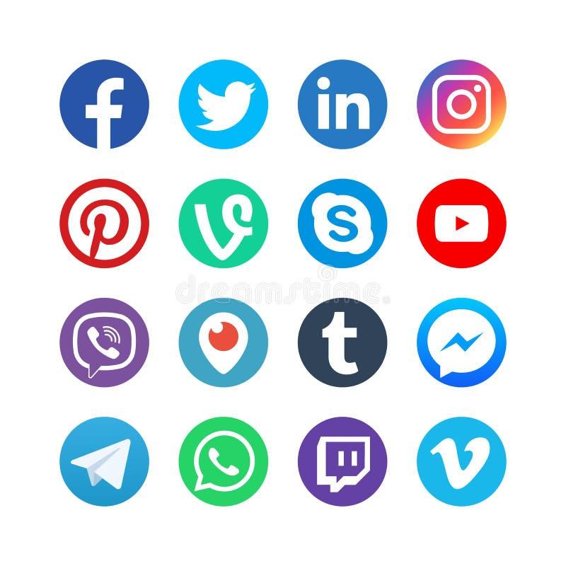 社会媒介象 启发由facebook、instagram和慌张 普遍的媒介导航按钮 向量例证
