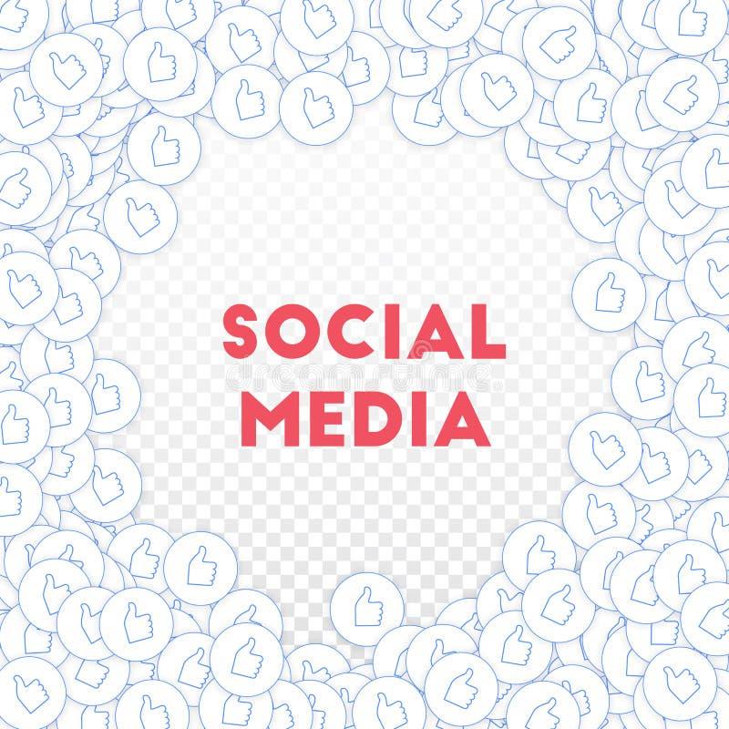 社会媒介象 概念社会营销媒体 下跌的疏散赞许 圆的任意框架 皇族释放例证