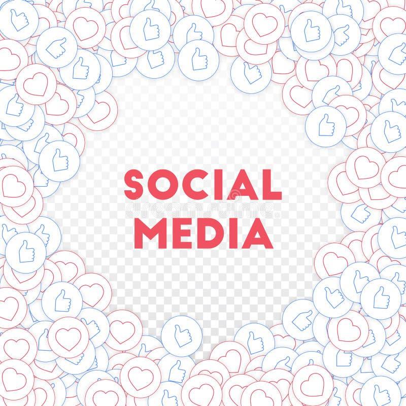 社会媒介象 概念社会营销媒体 落的疏散赞许心脏 圆任意 向量例证