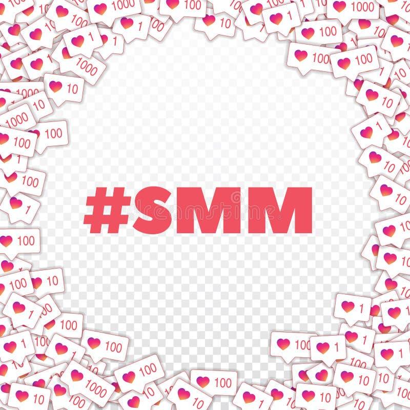 社会媒介象 smm概念 下坡道降坡喜欢逆 在透明的壁角框架元素 向量例证